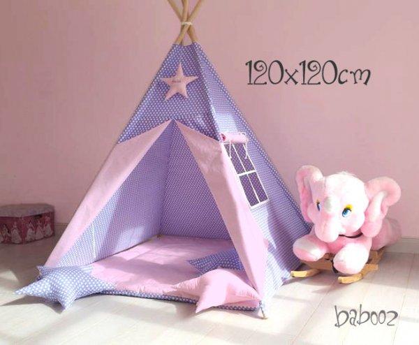 Tipi 120 Polka Dots lila : rosa mit Fenster und Decke