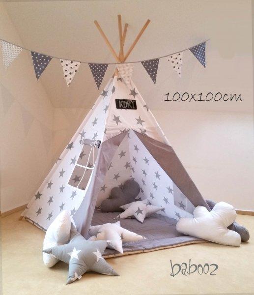 Tipi 100 weiß mit grauen Sternen : weiß mit Fenster und Decke