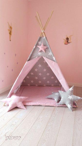 Tipi 120 Sterne auf grau : rosa mit Decke
