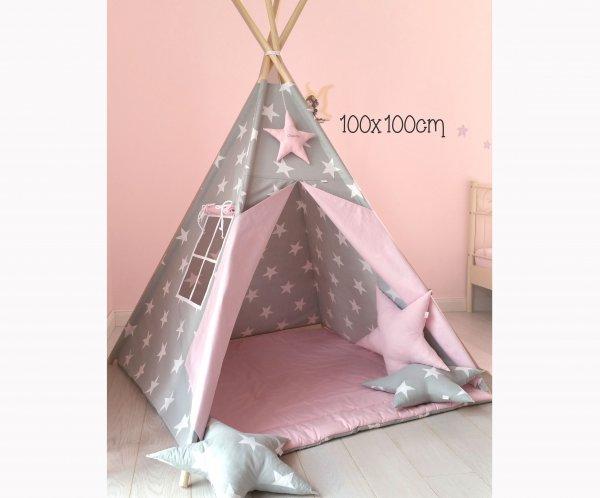 Tipi grau mit Sternen : rosa mit 2 Kissen