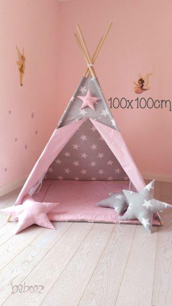 Tipi grau mit Sternen : rosa