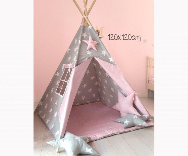 Tipi grau mit Sternen : rosa mit Namen