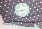 Kuscheldecke grau mit Sternen:mint mit Namen