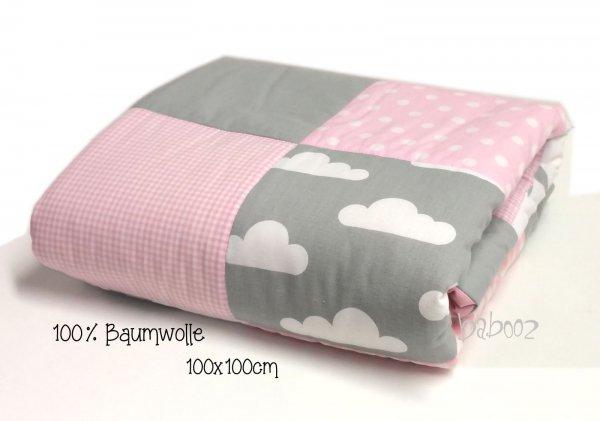 Krabbeldecke 100 grau-rosa