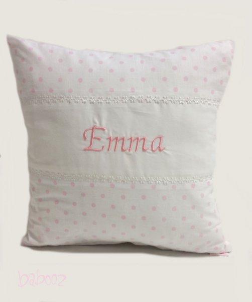 Kissen mit Namen Polka Dots weiß-rosa