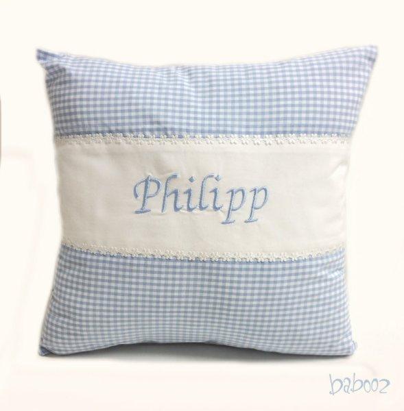 Kissen mit Namen Vichy blau