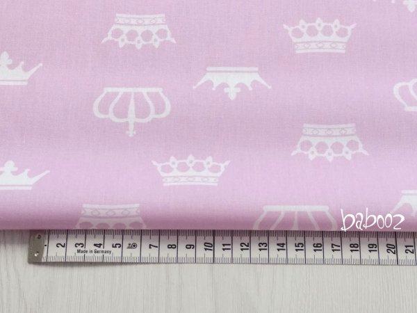 Stoff rosa mit Kronen