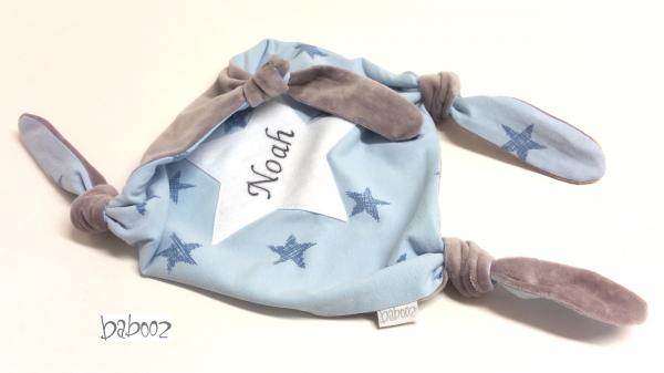 Schmusetuch mit Namen Sterne:Nicki grau
