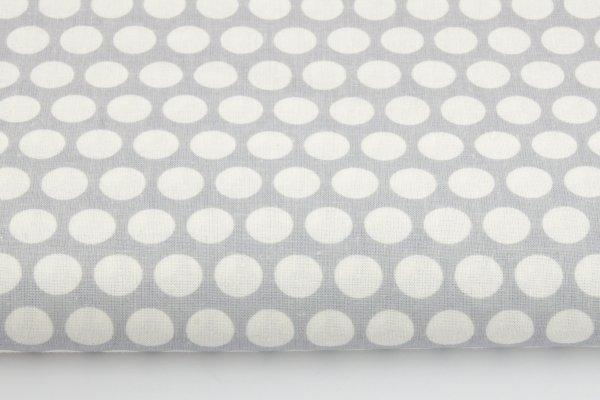 Baumwollstoff grau mit weißen Tupfen