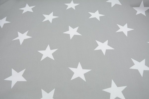 Baumwollstoff grau mit 8cm Sternen