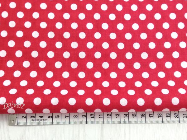 Baumwollstoff Polka Dots rot-weiß
