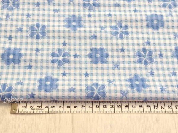 Stoff Landhaus Blume blau