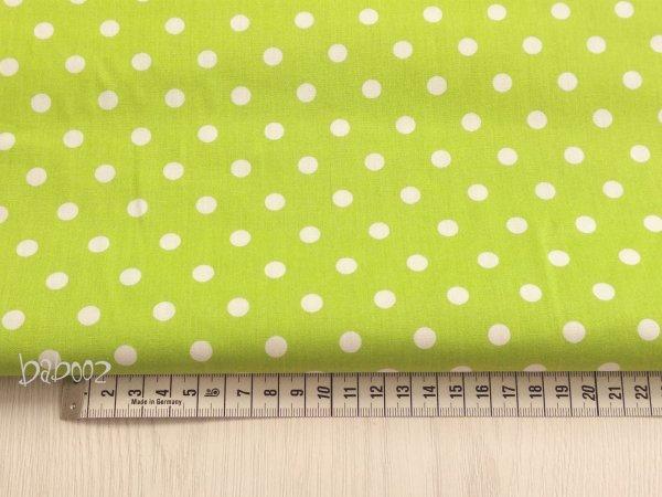 Baumwollstoff Polka Dots grün-weiß