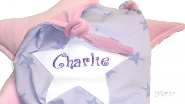 Schmusetuch mit Namen Sterne lila:Nicki altrosa