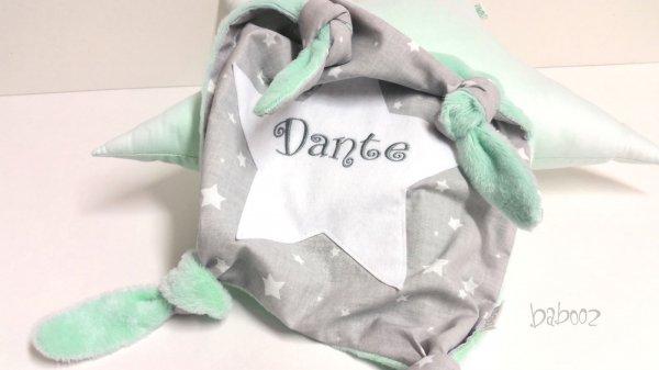 Schmusetuch mit Namen grau mit Sternen:Nicki mint