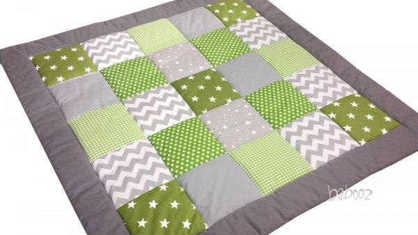 Patchworkdecke grau-grün