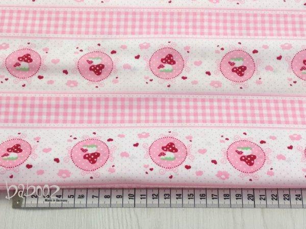 Stoff Baumwolle rosa mit Fliegenpilzen
