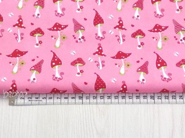 Stoff Baumwolle rosa mit Fliegenpilzen 2