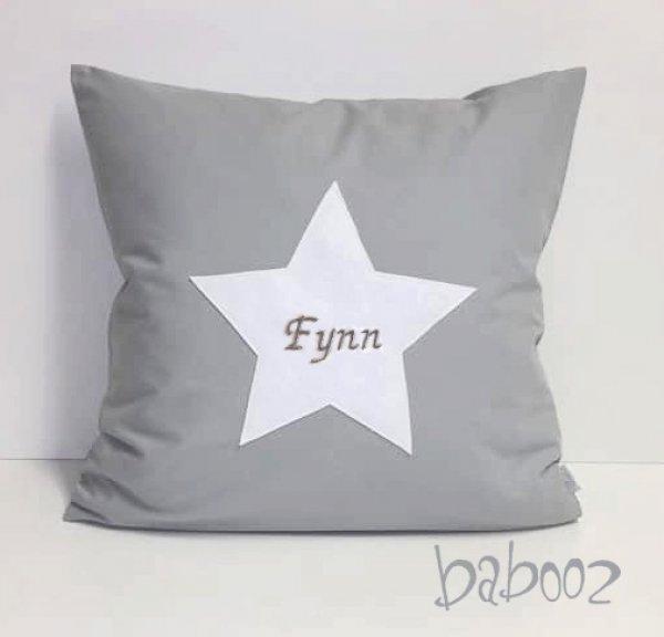 Kissenbezug grau mit Stern mit Namen 40x40cm