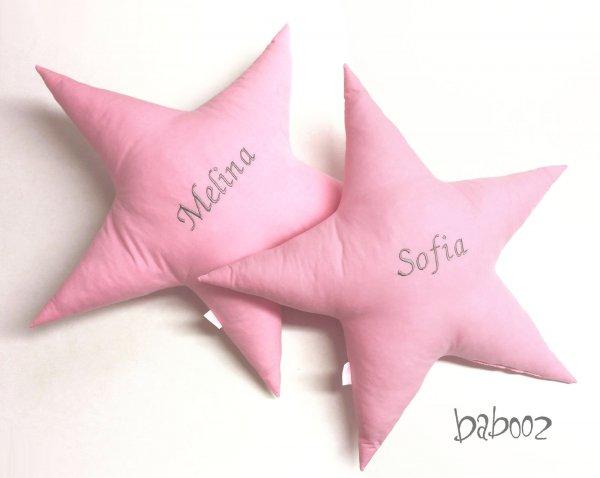 Kissen Stern rosa mit Namen