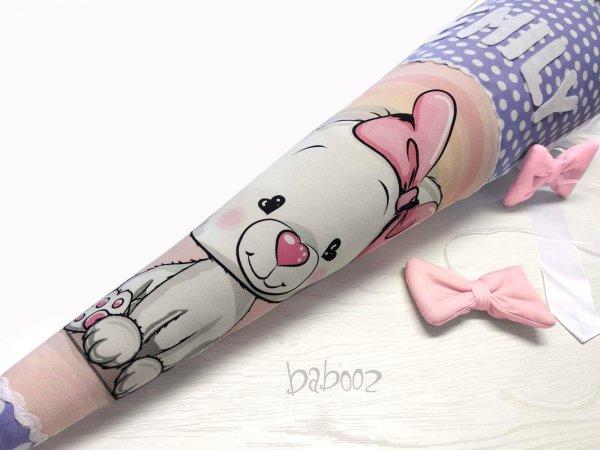 Schultüte mit Namen Katze auf rosa : lila