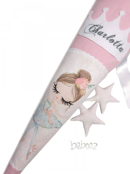Schultüte mit Namen Ballerina : rosa