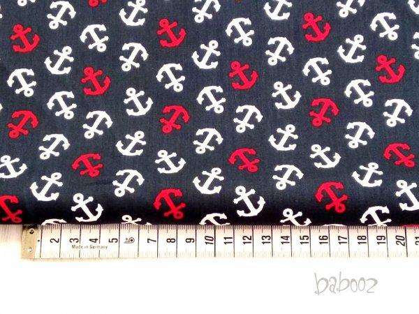 Baumwollstoff maritim dunkelblau mit weißen und roten Ankern