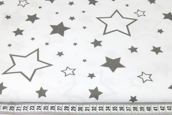 Baumwollstoff weiß mit grauen Sternen