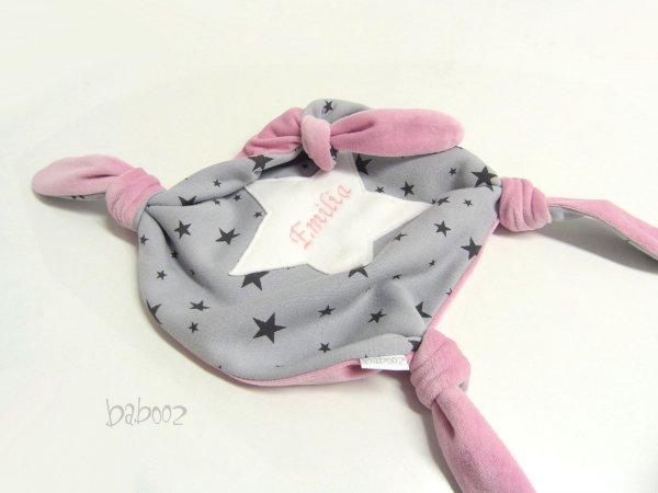 Schmusetuch mit Namen grau mit Sternen : Nicki rosa