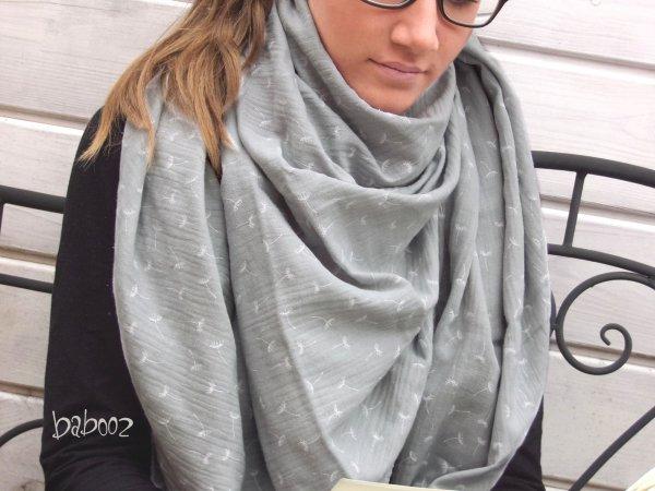 Halstuch Musselin grau mit Pusteblumen