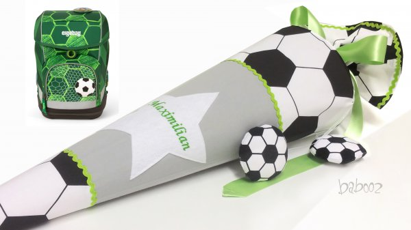 Schultüte Fussball:grau:hellgrün, mit Namen