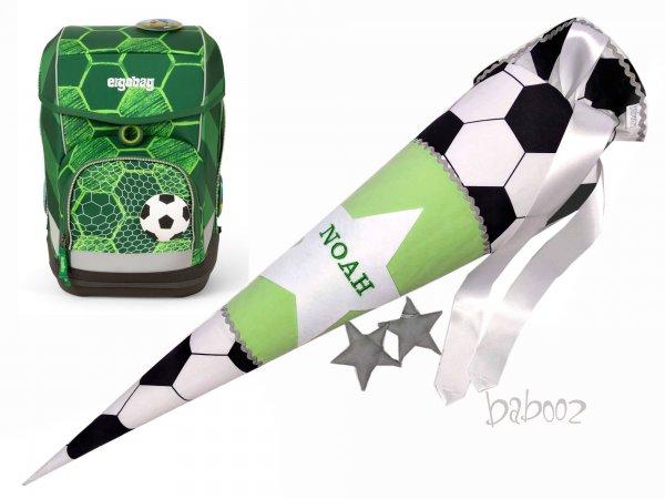Schultüte Fussball:grün, mit Namen