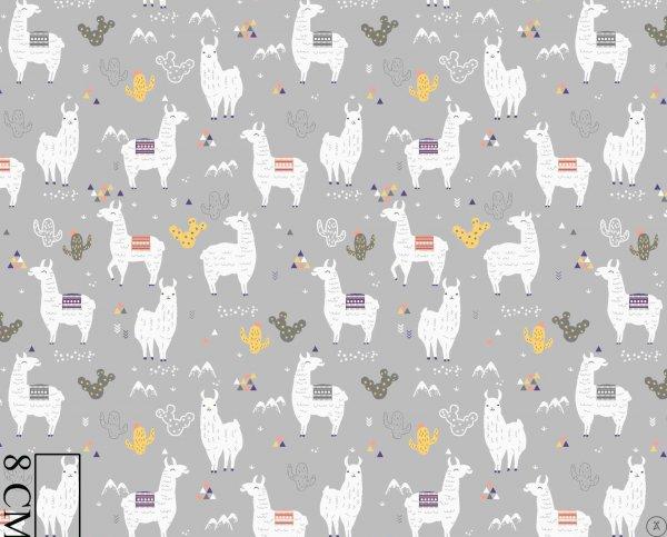 Baumwollstoff grau Lama