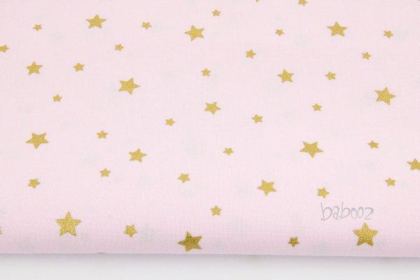 Stoff Baumwolle hellrosa mit goldenen Sternen