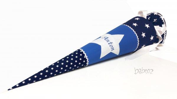 Schultüte dunkelblau Sterne : königsblau, mit Namen