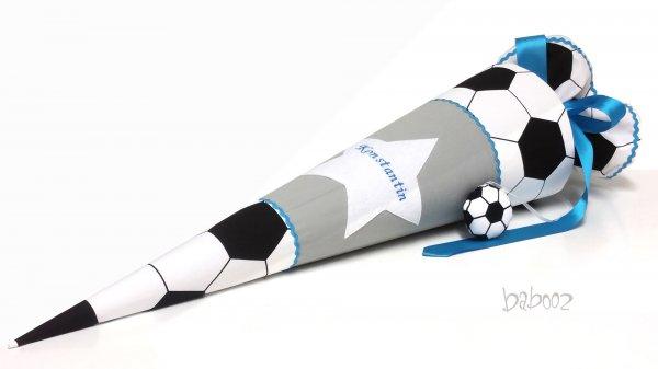 Schultüte Fussball:grau:türkis, mit Namen