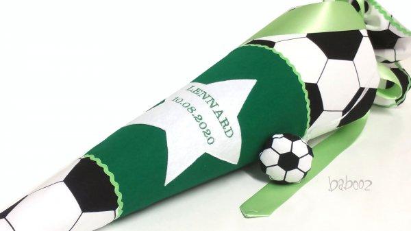 Schultüte Fussball:dunkelgrün, mit Namen