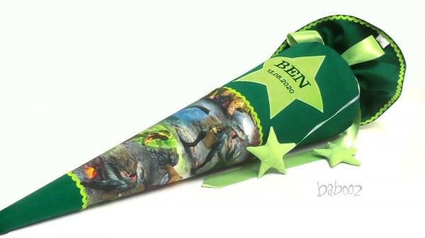 Schultüte Dino mit Namen -dunkelgrün