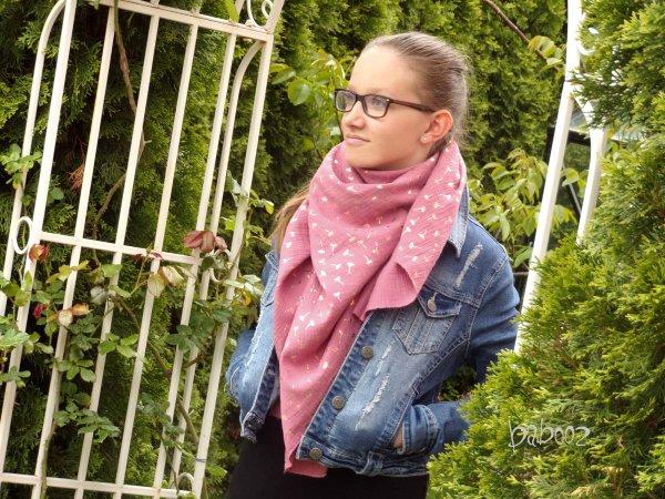 Halstuch Musselin rosa - goldene Pusteblumen