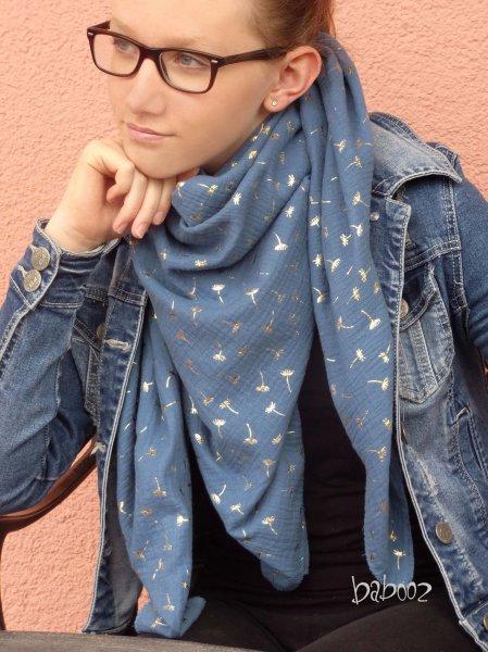 Halstuch Musselin blau mit Pusteblumen