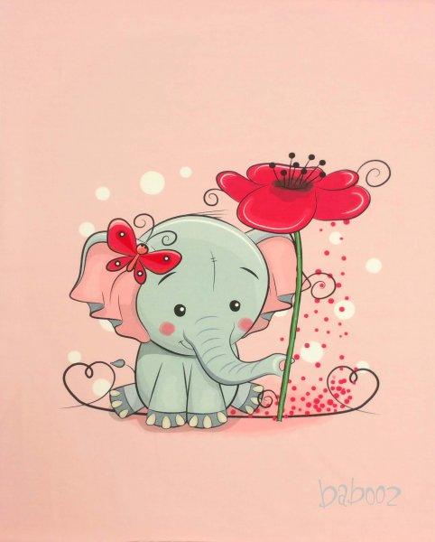 Panel Elefant mit Blume