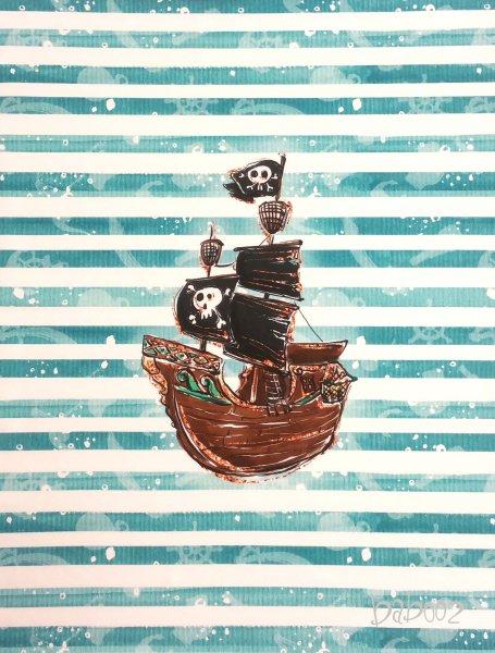 Panel Piratenschiff türkis gestreift