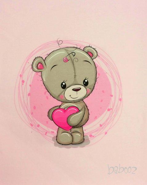Panel Teddybär mit Herz, rosa