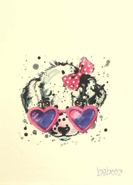 Panel Dalmatiner mit rosa Brille