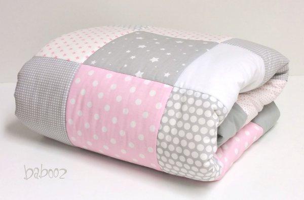 Patchworkdecke / Tagesdecke mit Namen grau-rosa