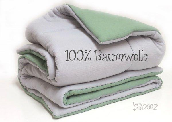 Babydecke Musselin grau-grün 100x130