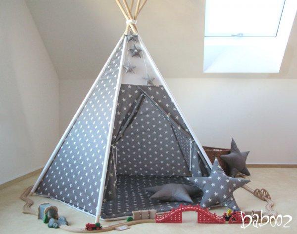Tipi 5-eckig mit Decke und zwei Kissen, grau mit Sternen