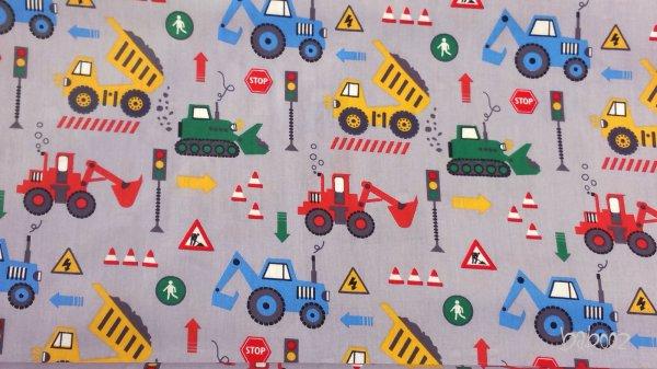 Baumwollstoff grau mit Baustellenautos