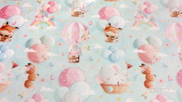 Baumwollstoff Tiere Luftballons türkis