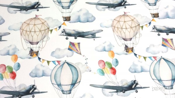Baumwollstoff Heißluftballons und Flugzege